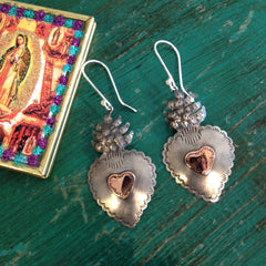 Copper and Silver Sacred Heart Earrings, Oxidized Silver