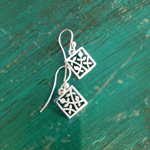 Small Silver Squares with Flowers - Zinnia Folk Arts