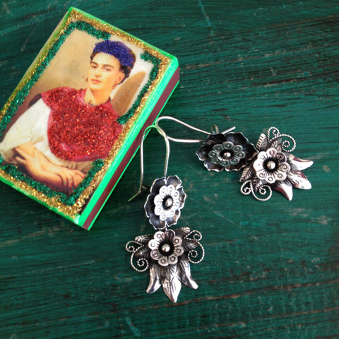 Flor and Calabaza Sterling Silver Earring - Zinnia Folk Arts