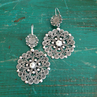 Double Round Mexican Silver Filagree Earrings with Pearl Beads - Zinnia Folk Arts