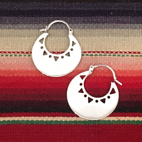 Silver Arracadas with Cutouts, Mexican Earrings - Zinnia Folk Arts
