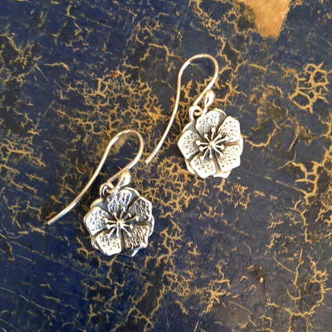 Petunia Flower Earrings, Silver, Small - Zinnia Folk Arts