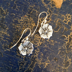 Petunia Flower Earrings, Silver, Small