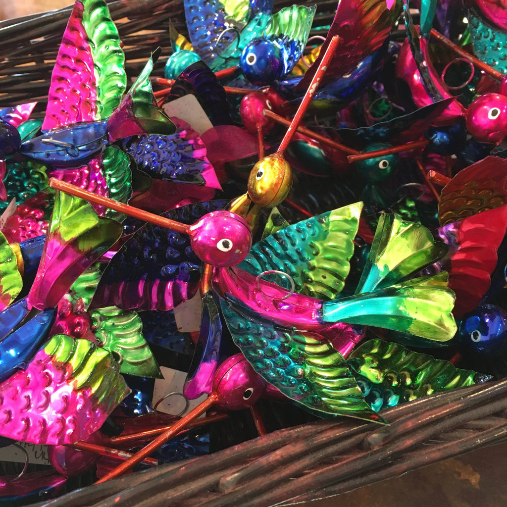 Painted Tin Mexican Hummingbird Ornaments, Shiny - Zinnia Folk Arts
