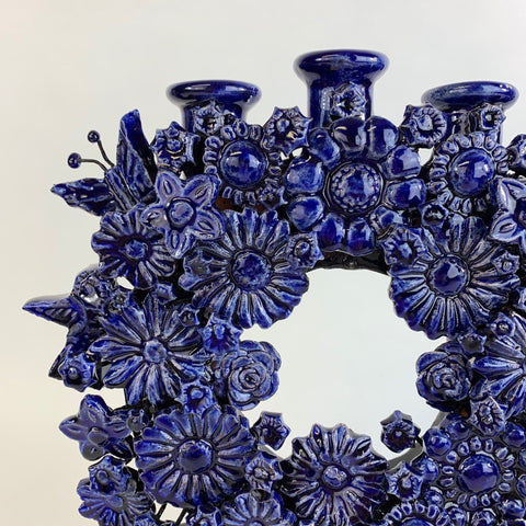 Blue Clay Candle Holders, Michoacán - Zinnia Folk Arts