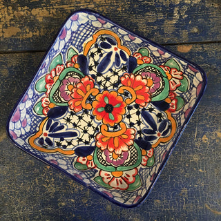 Square Mexican Talavera Baking Pan - Zinnia Folk Arts