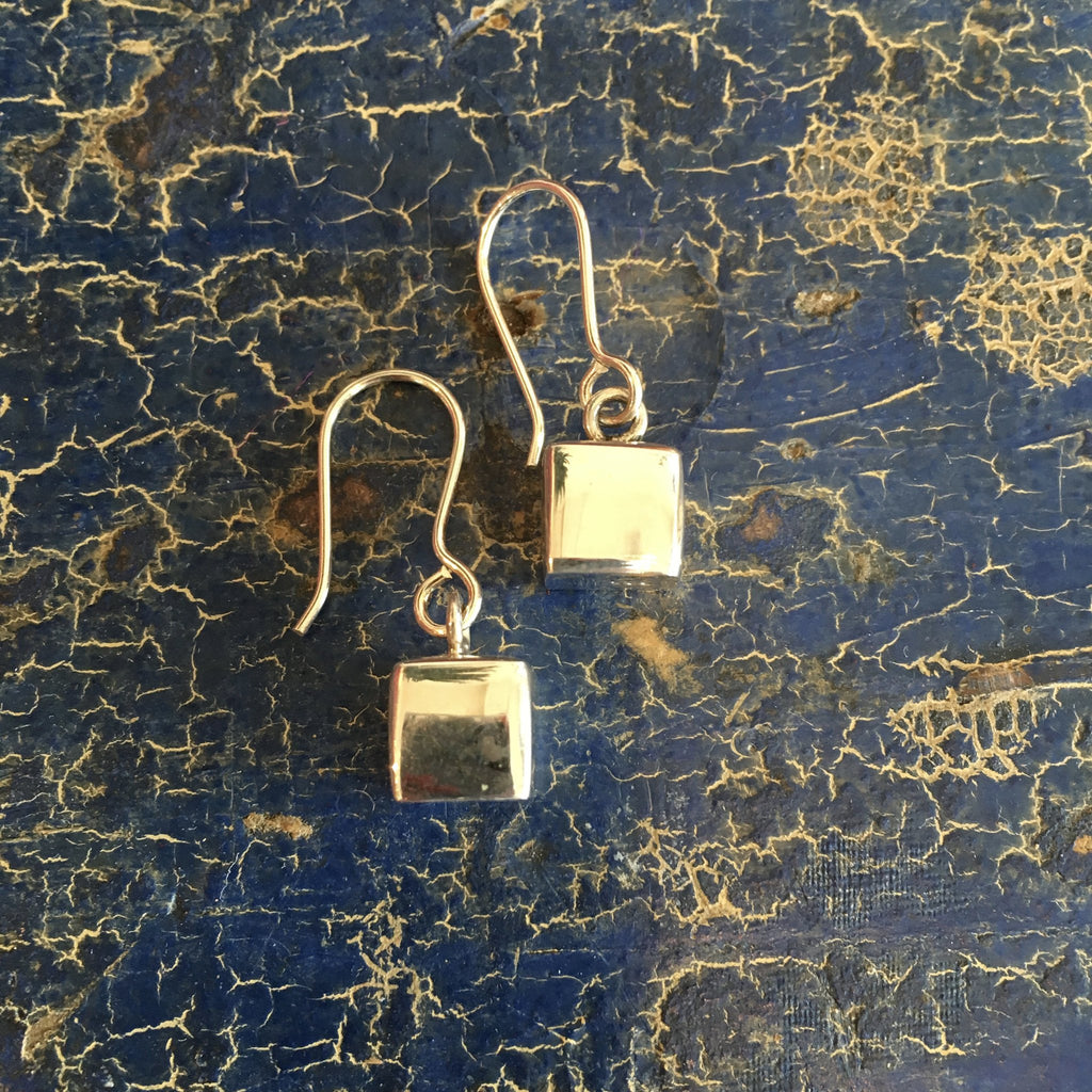 Small Cube Mexican Silver Earring - Zinnia Folk Arts