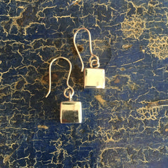 Small Cube Mexican Silver Earring