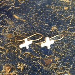 Small Cross Mexican Silver Earring