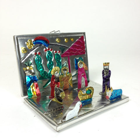 Fold-Up Painted Mexican Tin Nativity Box, Small - Zinnia Folk Arts