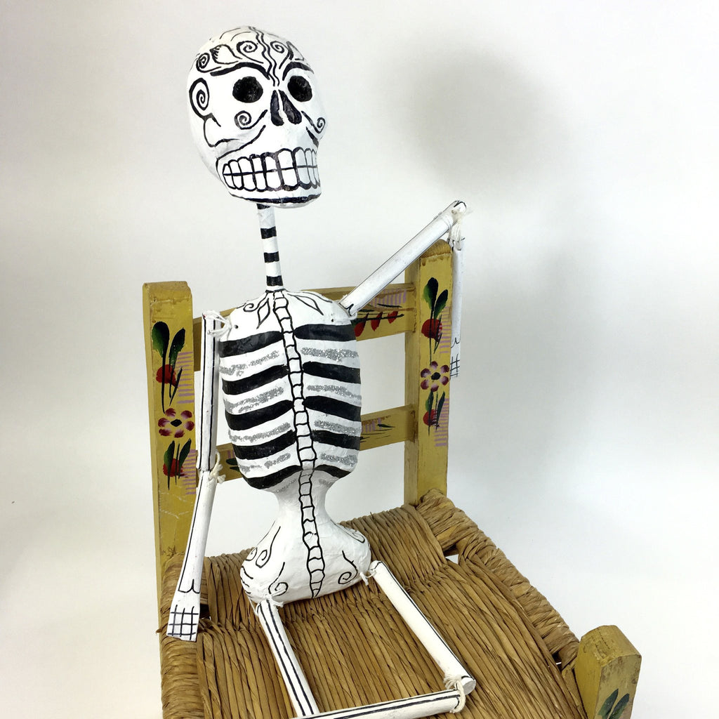 Paper Mache Day of the Dead Skeletons with Glitter,  Large - Zinnia Folk Arts