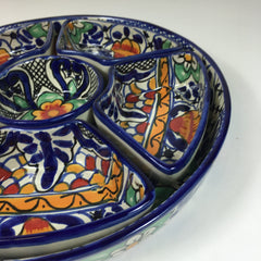 Mexican Talavera Round Appetizer Tray with Removable Bowls