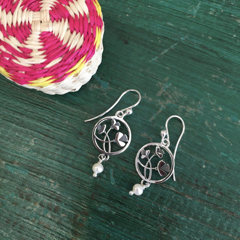 Small Silver Circles with Tiny Flower and Pearl Drop Earrings - Zinnia Folk Arts
