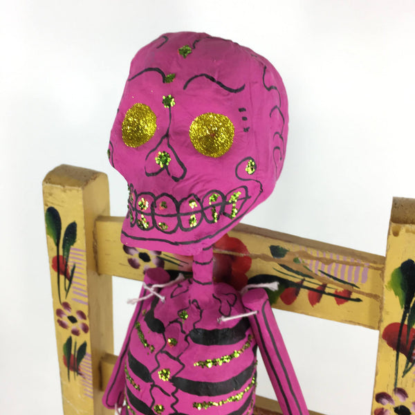 Mexican Paper Mache Day of the Dead Skeletons with Glitter, Painted