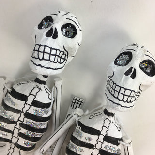 Dangling Day of the Dead Papier-Mâché Skeletons with Glitter - Zinnia Folk Arts