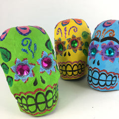 Mexican Paper Mache Skulls, Painted