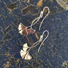 Mexican Gingko Earrings, Sterling Silver, Taxco
