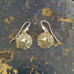 Oxidized Silver Disk with Dandelion Earrings