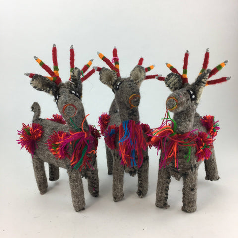 Wool Reindeer from Chiapas, Medium - Zinnia Folk Arts