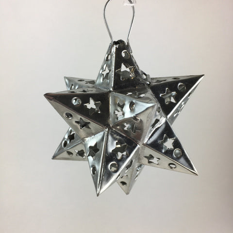 12 Points Mexican Tin Star Christmas Ornament, Unpainted - Zinnia Folk Arts