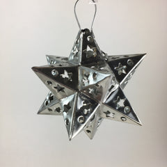 12 Points Mexican Tin Star Christmas Ornament, Unpainted