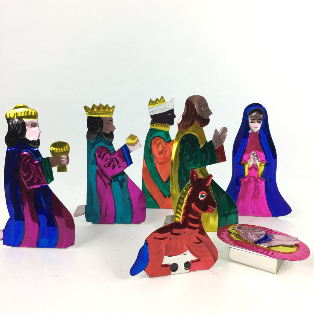 Fold-Up Tin Nativity Creche with Its Own Box, 10 pieces - Zinnia Folk Arts