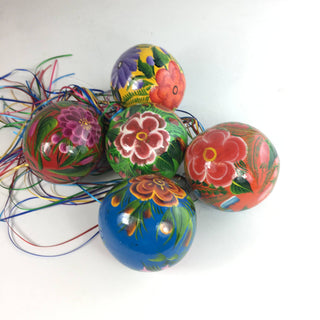Painted Gourd Mexican Christmas Tree Ornaments - Zinnia Folk Arts