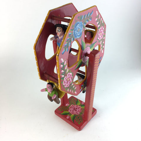Lacquered Folk Art Toy Ferris Wheel - Zinnia Folk Arts