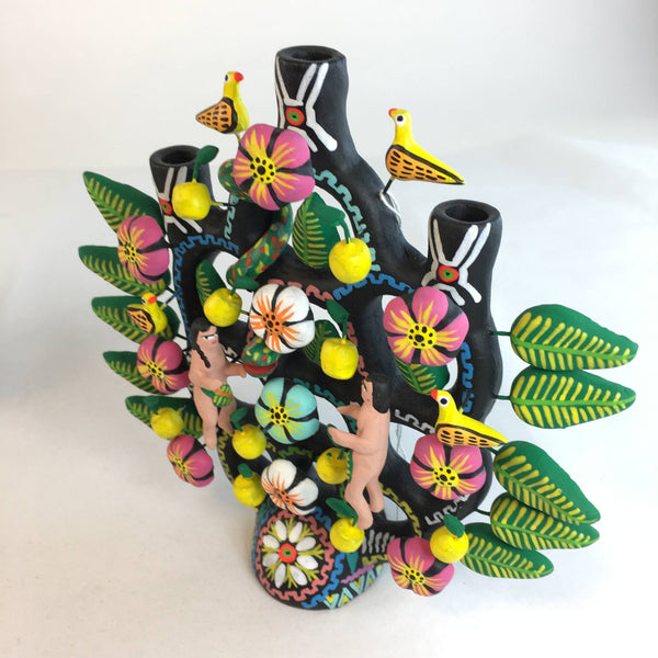 Mexican Black & Multi-Colored Ceramic Tree of Life, Tlaxcala