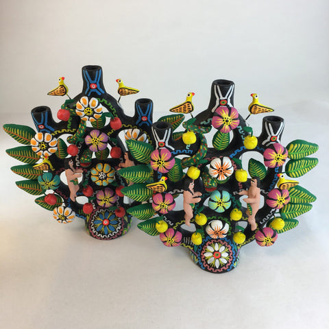 Mexican Black & Multi-Colored Ceramic Tree of Life, Tlaxcala - Zinnia Folk Arts