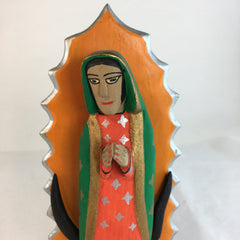 Mexican Wood Carving, Virgen de Guadelupe by Eloy Santiago