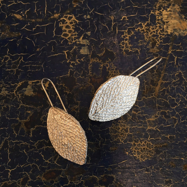 Aspen Leaf Earrings, Sterling Silver, Taxco