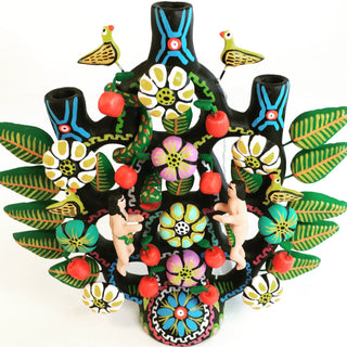Black Ceramic Tree of Life, Tlaxcala - Zinnia Folk Arts