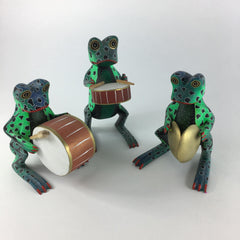 Mexican Wood Carving, Frog Musicians from Oaxaca
