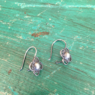 Small Filagree Silver Mexican Earrings - Zinnia Folk Arts