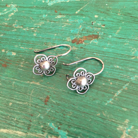 Small Filagree Silver Mexican Earrings, 2 Styles - Zinnia Folk Arts