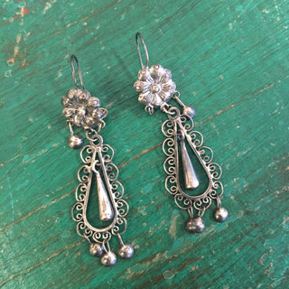 Long Mazahua Sterling Silver Earring with Flor, Filagree & Drops - Zinnia Folk Arts