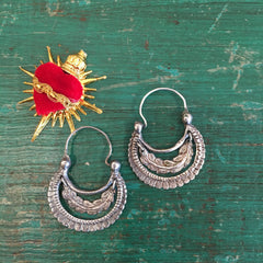 Traditional Tlaxcala Arracadas, Sterling Silver