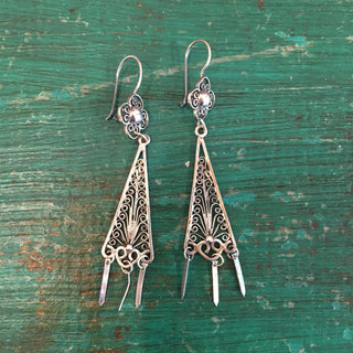 Triangular Sterling Silver Filagree With Drops - Zinnia Folk Arts