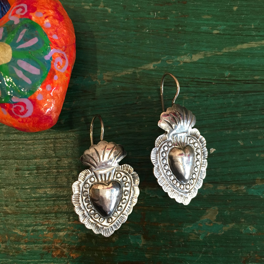 Mexican Sterling Silver Sacred Heart Earrings on French Wires - Zinnia Folk Arts