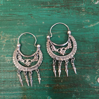 Traditional Tlaxcala Arracadas with Drops, Sterling Silver - Zinnia Folk Arts