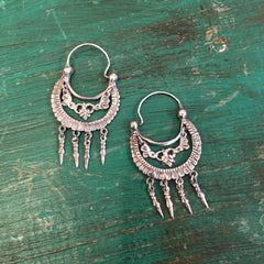 Traditional Tlaxcala Arracadas with Drops, Sterling Silver