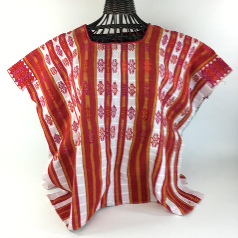 Vintage Red & Yellow Cotton Mexican Huipil, Pantelho, Chiapas - Zinnia Folk Arts