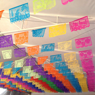 Wedding or Day of the Dead Papel Picado, 50 Mexican Paper Flags on a String, Medium - Zinnia Folk Arts