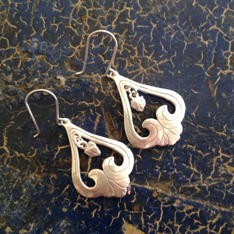 Upside Down Heart Earrings, Sterling Silver - Zinnia Folk Arts