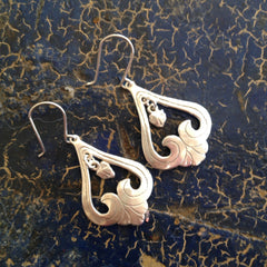 Upside Down Heart Earrings, Sterling Silver