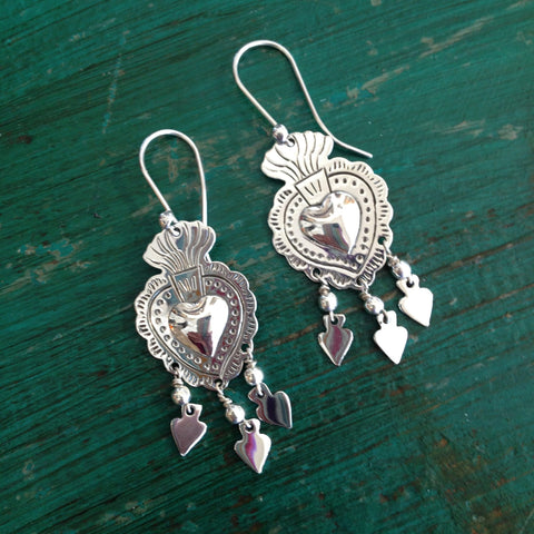 Sacred Heart Earrings, Sterling Silver - Zinnia Folk Arts