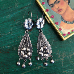 Mazahua Sterling Silver Earring with Flor