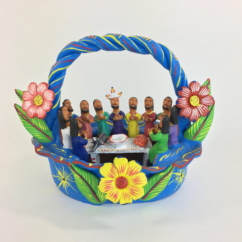 Ocumicho Last Supper In a Basket - Zinnia Folk Arts