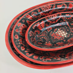 Red & Black Mexican Talavera Serving Bowls, 3 sizes